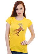 náhled - Stierací los žlté dámske tričko