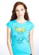 náhled - Zapnuté vypnuté modré dámske tričko