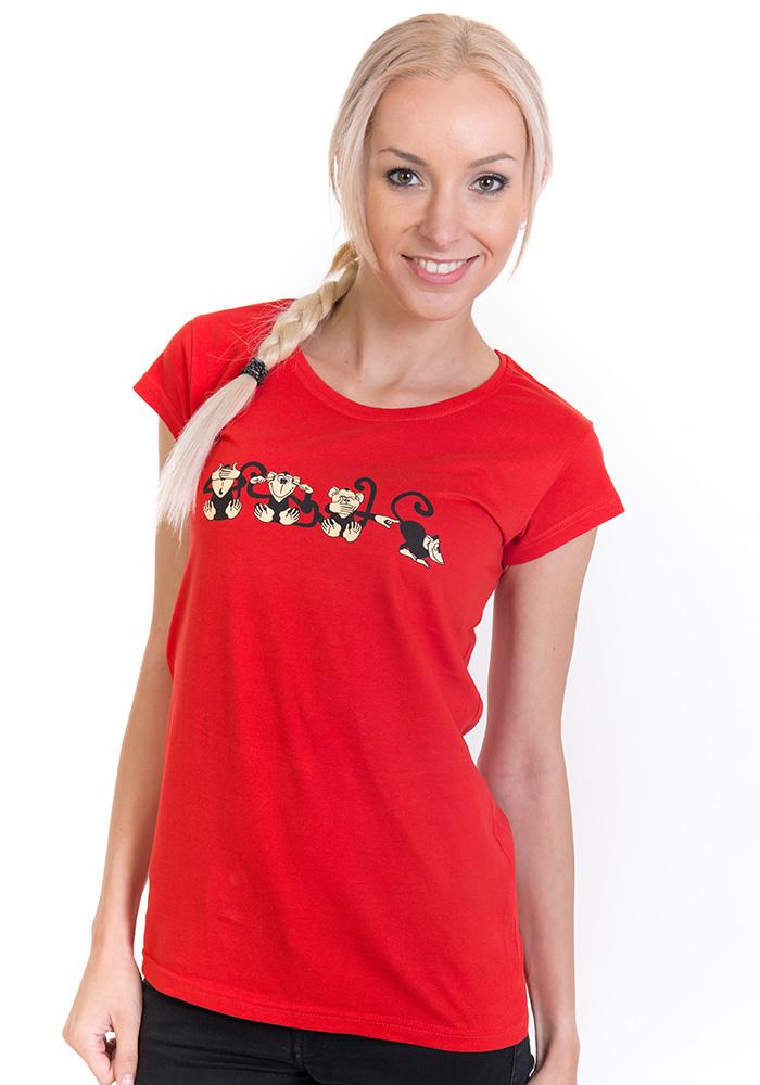 bf4dd0c54074 náhľad - Opica červené dámske tričko ...