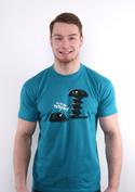 náhled - Vytočený modré pánske tričko