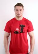 náhled - Vytočený červené pánske tričko