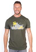 náhled - Lesná harmónia khaki pánske tričko