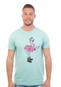 náhled - Plameniak zelené pánske tričko