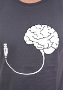náhled - USB mozog šedé pánske tričko