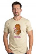 náhled - Žvejkal hnedé pánske tričko