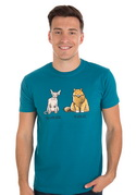 náhled - Kočka před výplatou modré pánske tričko