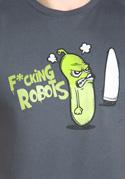náhled - Fucking Robots šedé pánske tričko