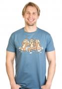 náhled - Trojnásobná opica modré pánske tričko