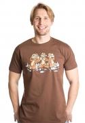 náhled - Trojnásobná opica hnedé pánske tričko