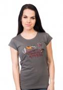 náhled - Zvrhlá šedé dámske tričko