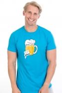 náhled - Velký pívo modré pánske tričko