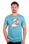 náhled - Piju jak duha modré pánske tričko