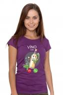 náhled - Biele víno volá fialové dámske tričko