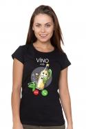 náhled - Bíele víno volá čierné dámske BIO tričko