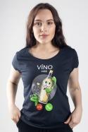 náhled - Biele víno volá tmavo modré dámske tričko