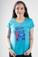 náhled - Roboti modré dámske tričko