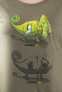náhled - Zapnuté vypnuté khaki dámske tričko