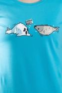 náhled - Zľakla ryba modré dámske tričko