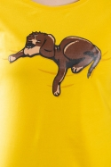 náhled - Spiaci pes žlté dámske tričko