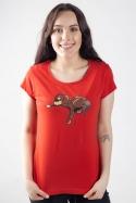 náhled - Spiaci pes červené dámske tričko
