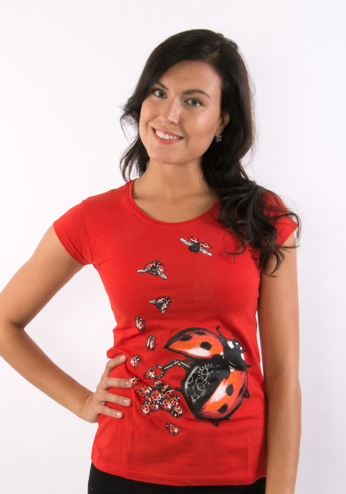 865ba7a15f92 Ladybird Factory červené dámske tričko