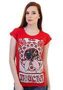 náhled - Mucha červené dámske tričko