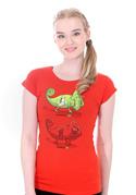 náhled - Zapnuté vypnuté červené dámske tričko