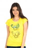 náhled - Zapnuté vypnuté žlté dámske tričko