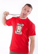 náhled - Ježko v klietke červené pánske tričko