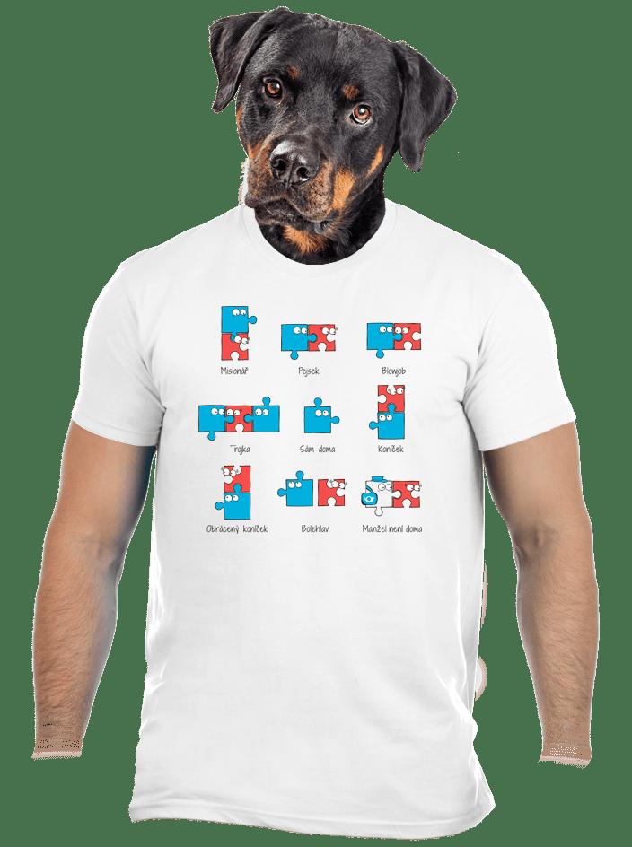 Puzzlesútra biele pánske tričko