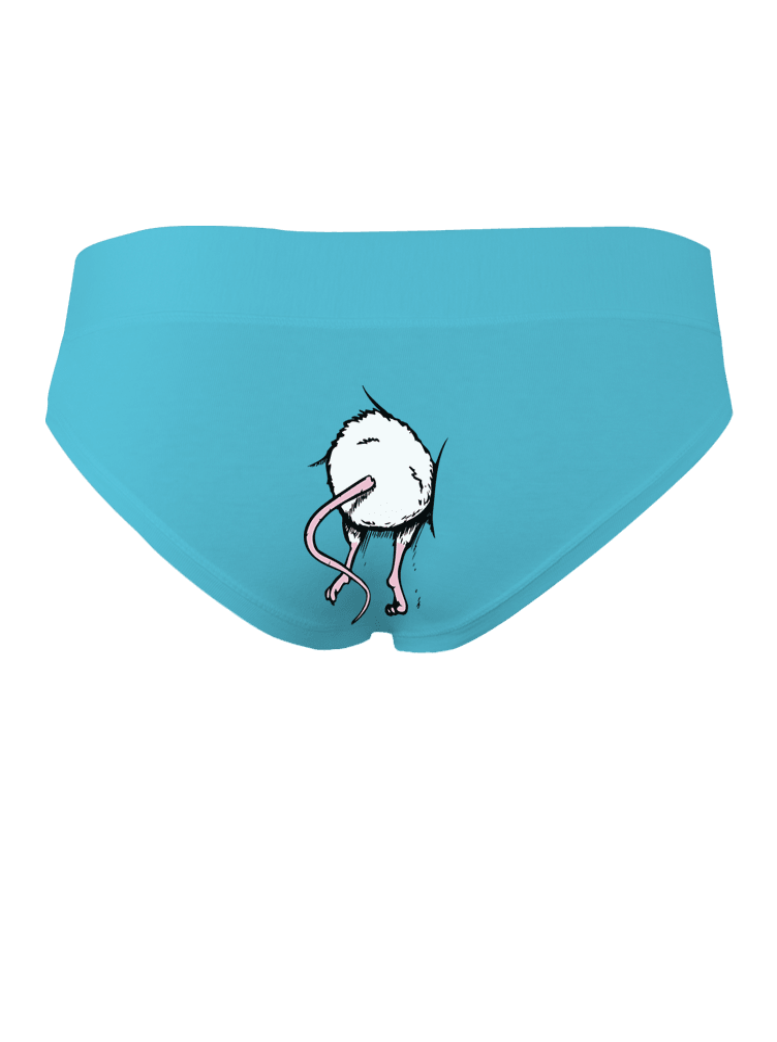 Myš v zadku - modré nohavičky