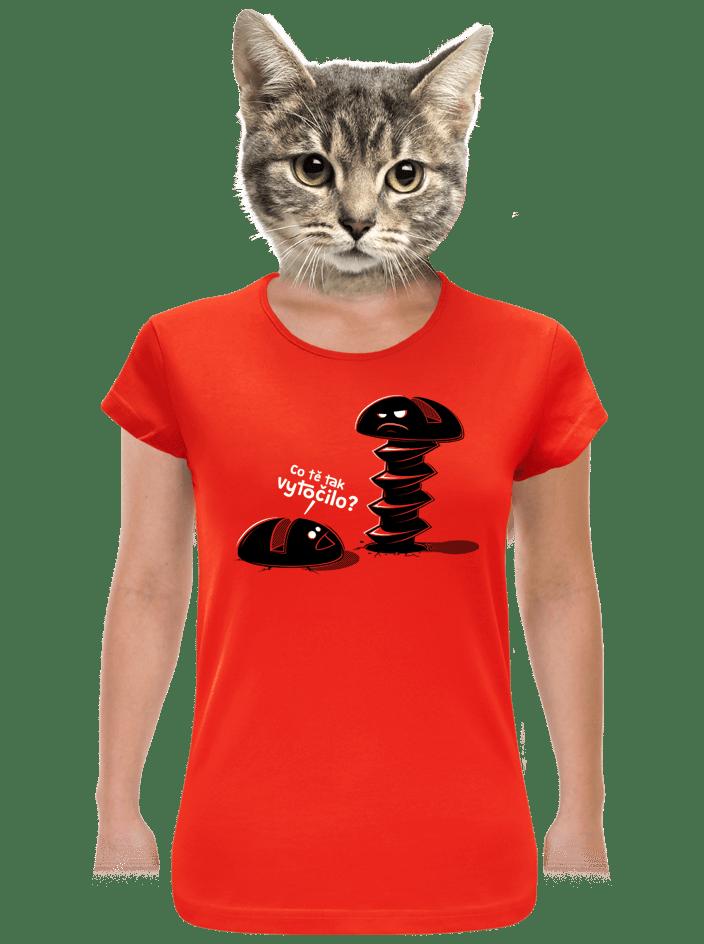Vytočený červené dámske tričko