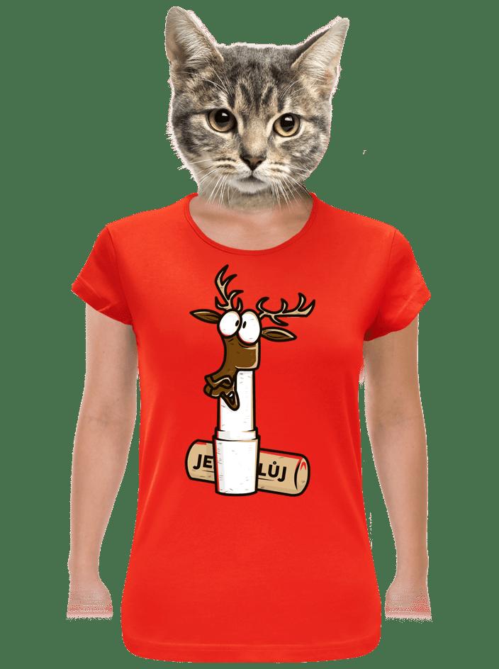 Jelení lůj červené dámske tričko