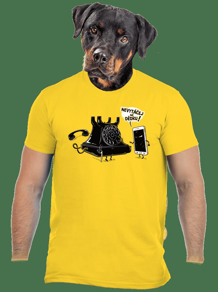 Telefon v důchodu žlté pánske tričko