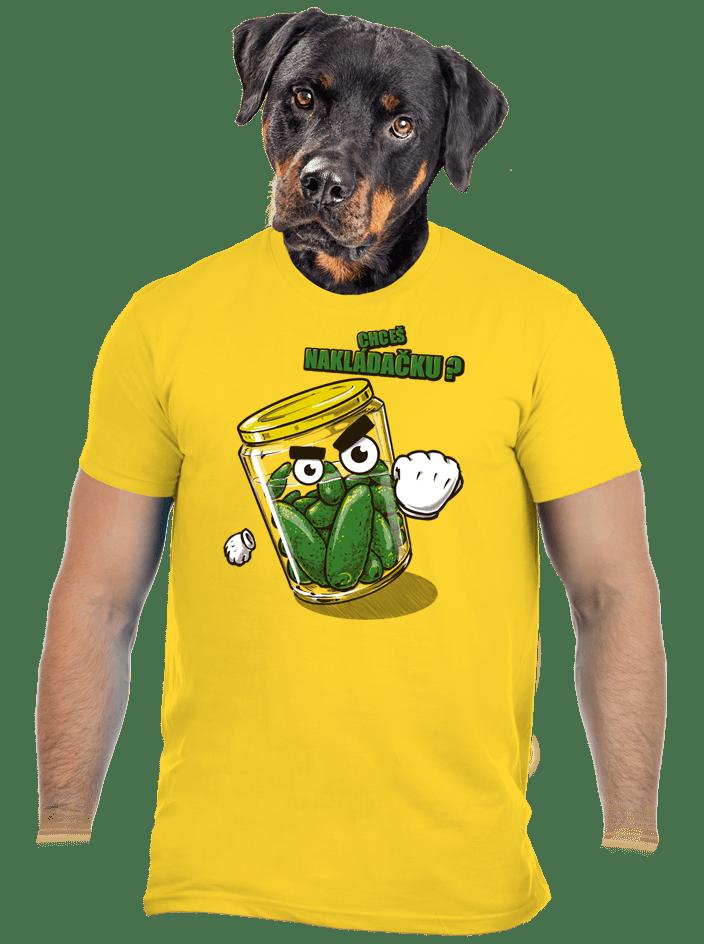 Nakládačka žlté pánske tričko