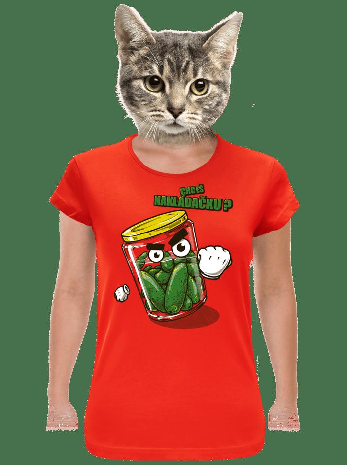 Nakládačka červené dámske tričko klasik