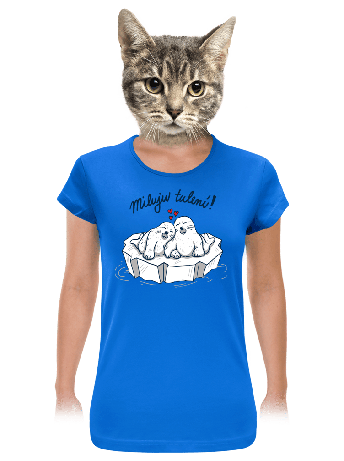 Miluju tulení modré dámske tričko