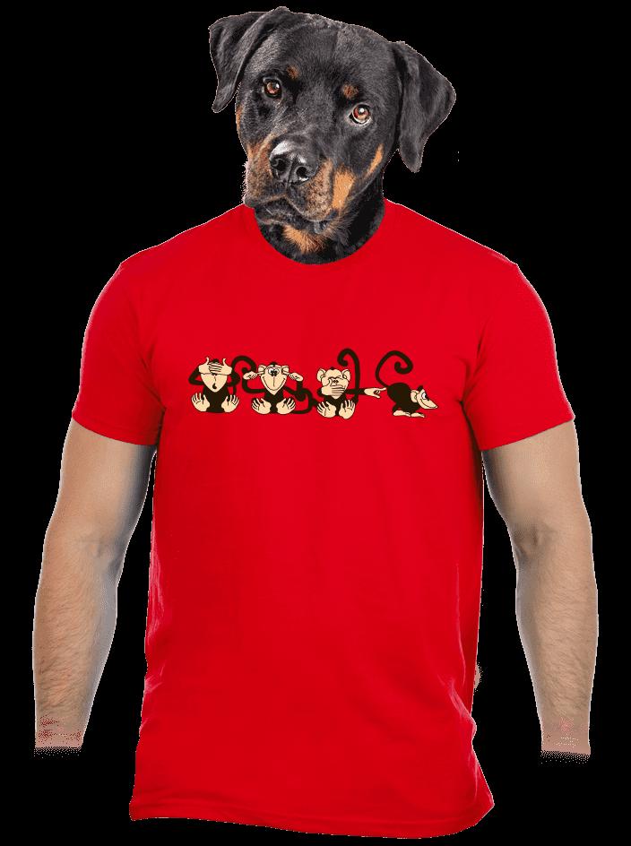Opica červené pánske tričko