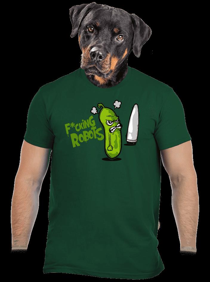 Fucking Robots zelené pánske tričko