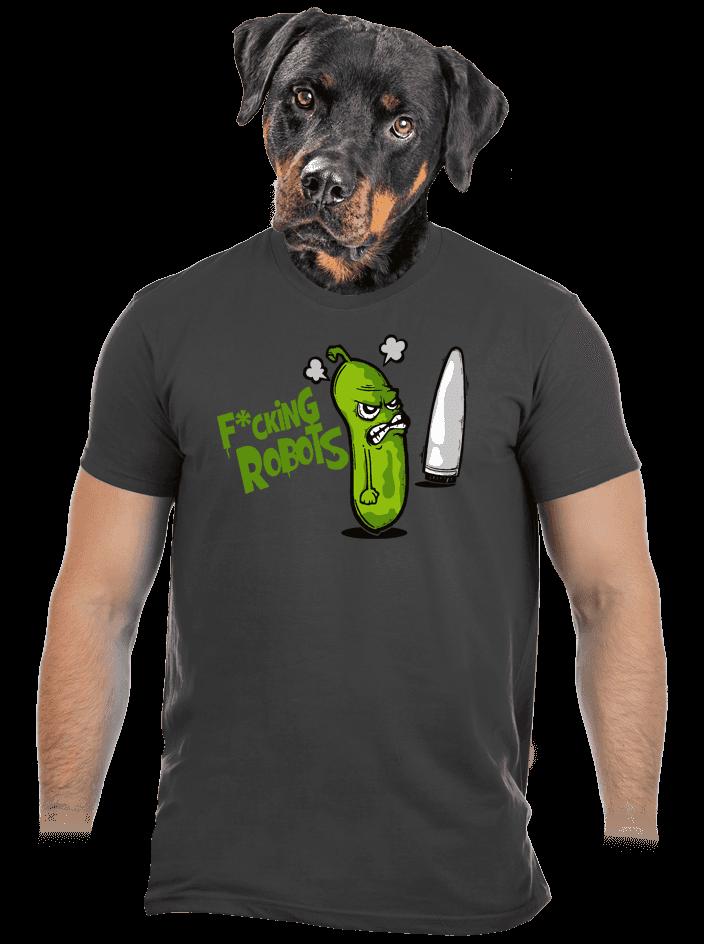 Fucking Robots šedé pánske tričko
