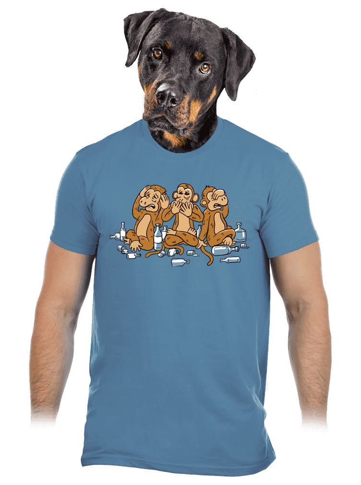 Trojnásobná opica modré pánske tričko