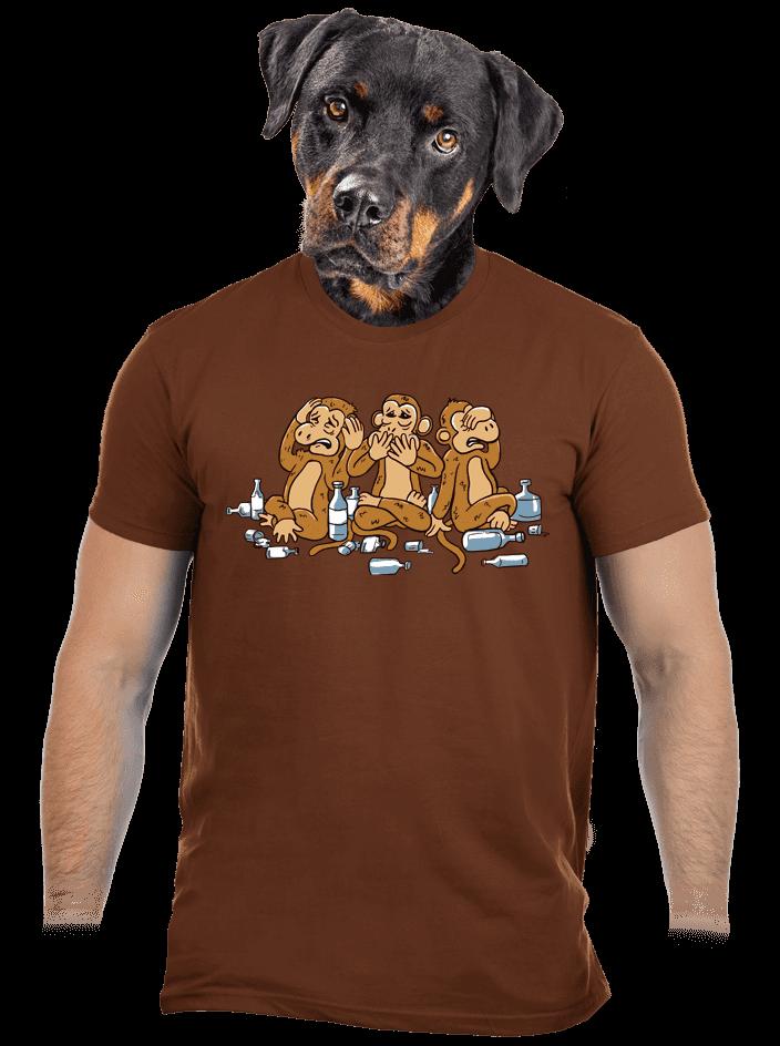 Trojnásobná opica hnedé pánske tričko