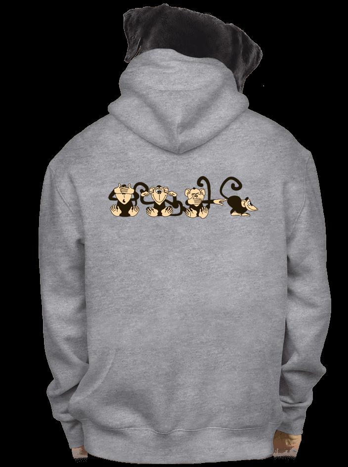 Opica pánska mikina – chrbát
