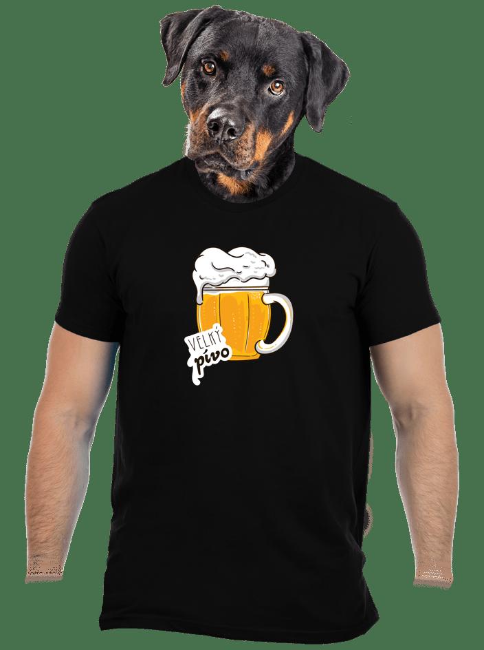 Velký pívo čierne pánske tričko