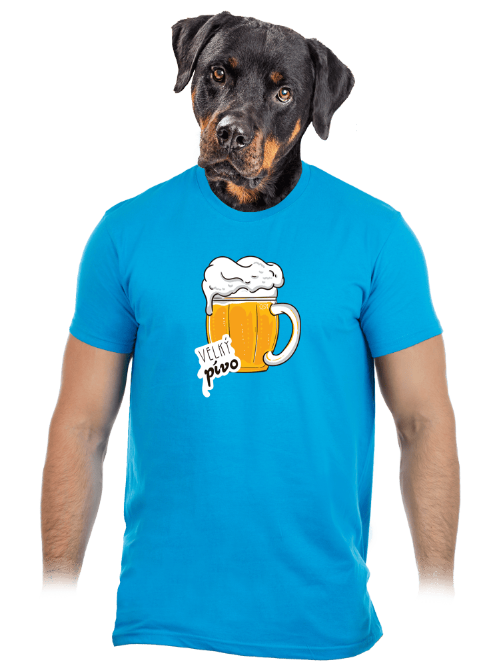 Velký pívo modré pánske tričko
