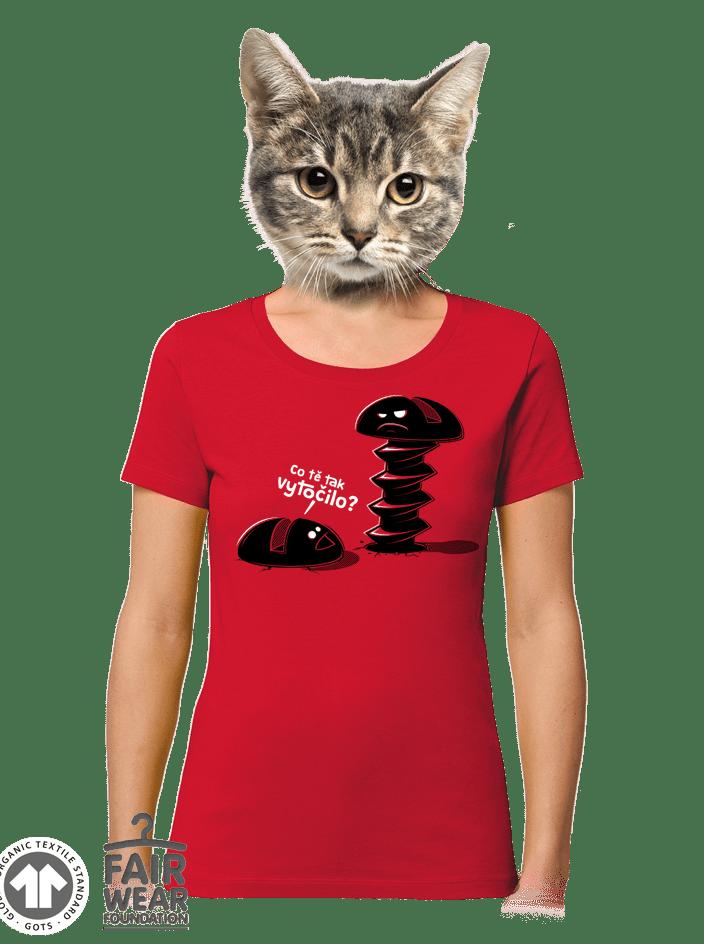 Vytočenej červené dámske BIO tričko