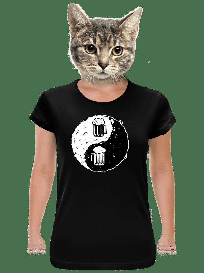 Jing Jang pivo čierne dámske tričko