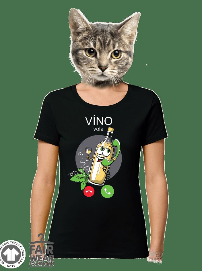 Bíele víno volá čierné dámske BIO tričko