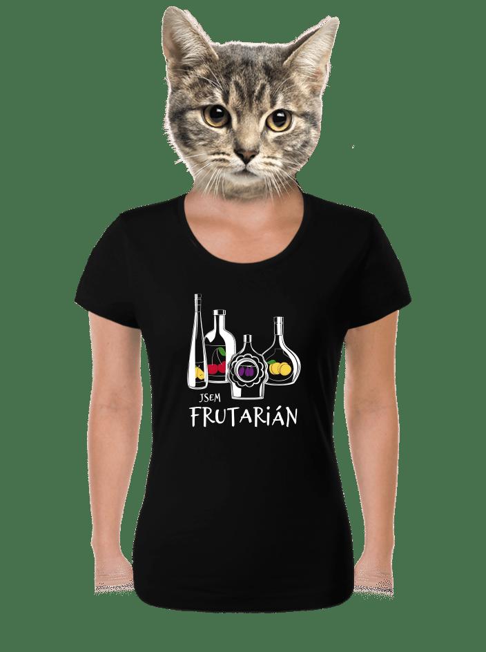 Frutarián čierne dámske tričko