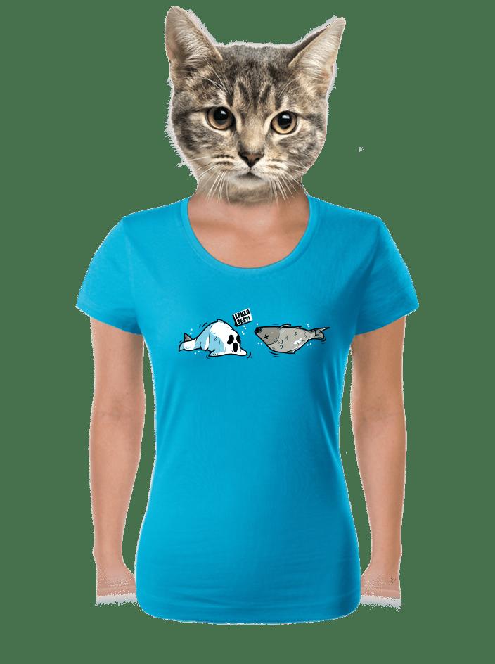Zľakla ryba modré dámske tričko